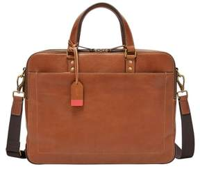 Fossil Men's Defender Leather Briefcase - Brown