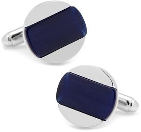 Ice Inlaid Navy Blue Catseye Disc Cufflinks