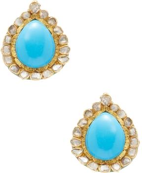 Amrapali Women's Yellow Gold, Turquoise & 0.60 Total Ct. Diamond Teardrop Earrings