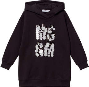 MSGM Black Sequin Logo Sweater Dress