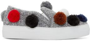 Joshua Sanders Grey Knit Pom Pom Slip-On Sneakers