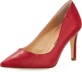 Neiman Marcus Cissy Snakeskin Pointed Pump, Medium Red