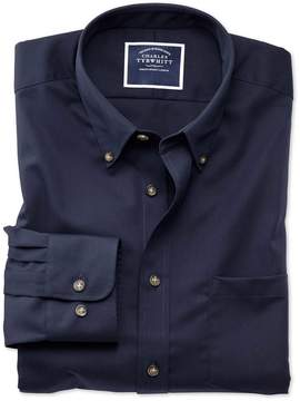 Charles Tyrwhitt Slim Fit Button-Down Non-Iron Twill Navy Blue Cotton Casual Shirt Single Cuff Size Large