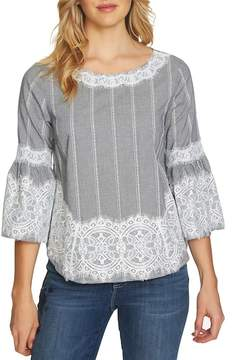 Cynthia Steffe CeCe by Bell Sleeve Lace & Gingham Blouse