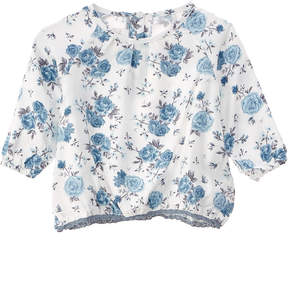 Chicco Girls' White & Blue Floral Top