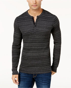 GUESS Men's Space-Dyed Waffle-Knit Henley