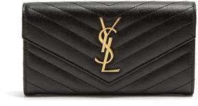 Saint Laurent Monogram quilted pebbled-leather wallet - BLACK - STYLE
