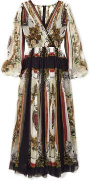 Dolce & Gabbana Wrap-effect Printed Silk-chiffon Maxi Dress - White