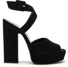 Saint Laurent Suede Debbie Platform Cross Strap Sandals