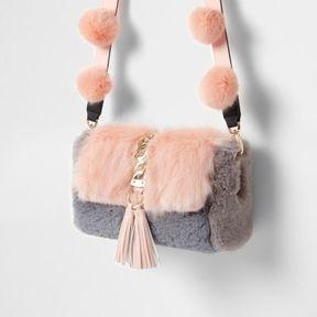 River Island Womens Pink faux fur pom pom cross body bag