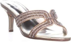 Caparros Cynthia Rhinestone Heeled Slide Sandals, Gold Metallic.