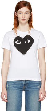 Comme des Garcons White and Black Heart T-Shirt