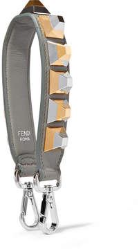Fendi Studded Leather Bag Strap - Gray