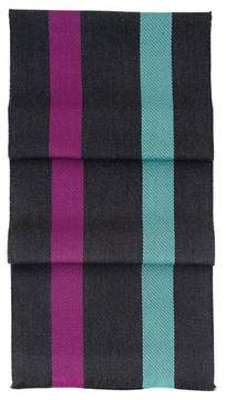 Aspinal of London University Stripe Merino Wool Scarf In Charcoal, Steel Blue Purple