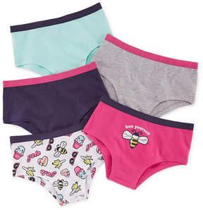 Asstd National Brand 5 Pair Boyshort Panty-Big Kid Girls