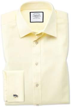 Charles Tyrwhitt Classic Fit Fine Herringbone Yellow Cotton Dress Shirt Single Cuff Size 15.5/35