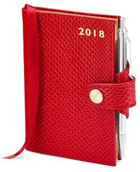 Aspinal of London Mini Pocket Leather Diary With Pen In Berry Lizard