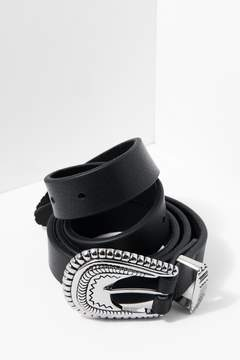 7 For All Mankind Wyatt Belt In Black And Silver