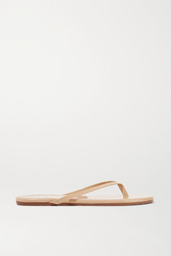 TKEES Lily Patent-leather Flip Flops - Beige