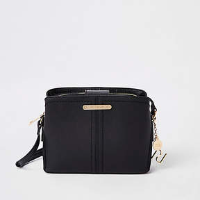 River Island Black open top triple compartment bag