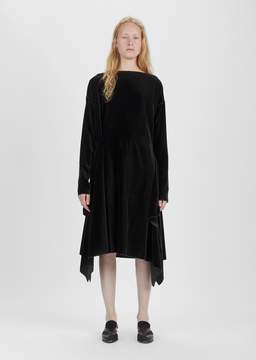Dusan Dušan Velvet Long Sleeve Dress Ebony Size: Small