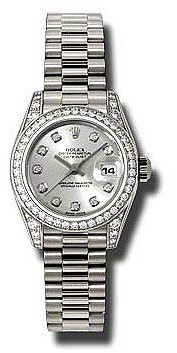 Rolex Lady-Datejust 26 Silver Dial 18K White Gold President Automatic Ladies Watch