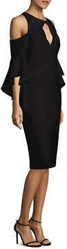 Shoshanna Women's Bell-Sleeve Cold-Shoulder Crepe Dress