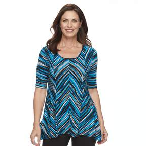 Dana Buchman Women's Print Elbow Sleeve Sharkbite Top