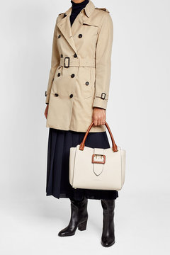 Burberry Leather Tote with Buckle Detail - BEIGE - STYLE