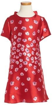 Oscar de la Renta Girl's Poppies Mikado Dress