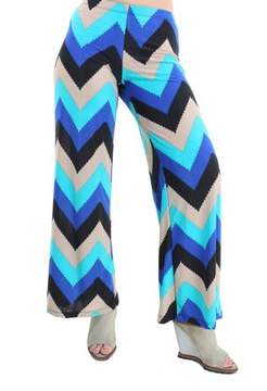 24/7 Comfort Apparel Women's Abstract Ocean Print Palazzo Pants