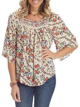 Democracy Smocked Floral Bell-Sleeve Blouse