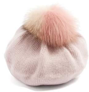 Miu Miu Fur-pompom wool and cashmere-blend beret