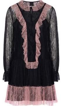 Anna Sui Ruffled Two-Tone Corded Lace Mini Dress