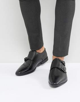 Asos Monk Shoes In Black Leather With Emboss Detail