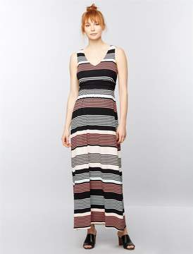 A Pea in the Pod Sleeveless Ruched Waist Maternity Maxi Dress- Stripe