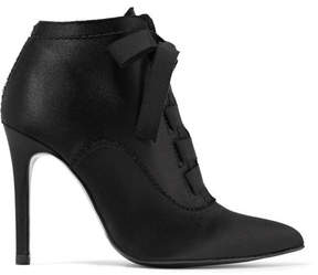 Pedro Garcia Ana Grosgrain-trimmed Satin Ankle Boots - Black