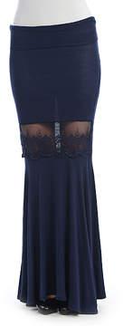 Celeste Navy Lace-Accent Maxi Skirt - Women