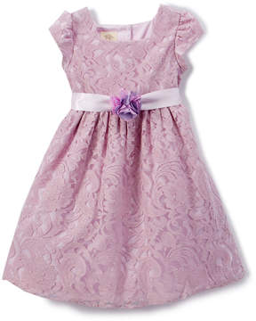 Laura Ashley Lilac Lace Cap-Sleeve Dress - Infant