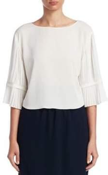 Emporio Armani Pleated Sleeve Silk Blouse