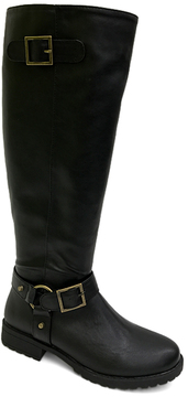 Bamboo Black Double Buckle Monterey Boot