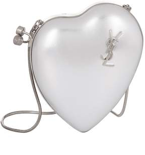 Saint Laurent Love Box Leather Clutch - SILVER - STYLE