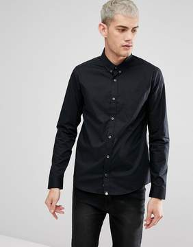 Pretty Green Phoenix Stretch Fit Long Sleeve Shirt In Black