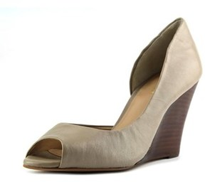 Sole Society Brita Women Open Toe Leather Gray Wedge Heel.