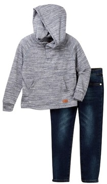 7 For All Mankind Hooded Henley & Jeans Set (Toddler Boys)