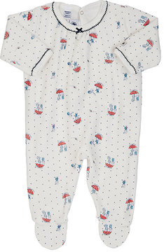 Petit Bateau MIXED-PRINT COTTON-BLEND VELOUR FOOTED PLAYSUIT