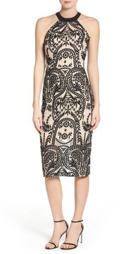 ECI Women's Mesh Halter Midi Dress