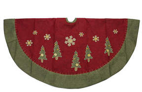 Asstd National Brand 48 Natural Red and Green Christmas Tree Skirt with Blanket Stitching Trim