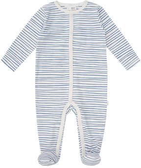 Petit Lem Blue Stripe Organic Cotton Footie Pajamas - Newborn & Infant