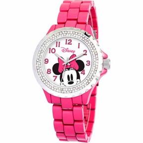 Disney Minnie Mouse Women's Enamel Watch, Pink Bracelet